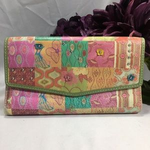 Fossil Leather Patchwork Floral Pastels Wallet